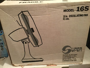 Super Electric 16 inch Oscillating Table Top Fan - Made in USA