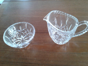Cross and Olive crystal cream and sugar bowl