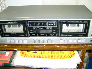 Vintage  Realistic Silver Dual Cassette tape player