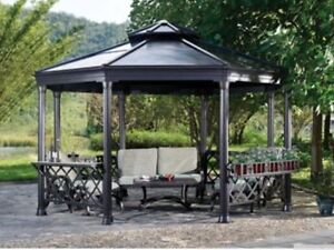 Brand new still box gazebo 13'x13' with ( steal roof )