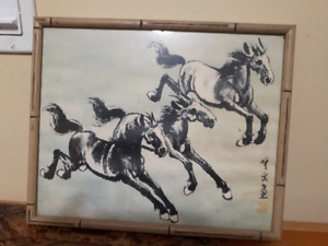 VINTAGE CHINESE ORIGINAL BRUSH INK WATERCOLOR 3 HORSES PAINTING