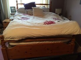 Solid pine double bed & mattress free delivery