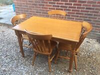 Solid pine dining table and 4 chairs