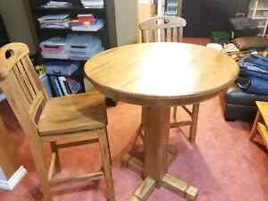 Solid Oak Bar Style Table & Chairs