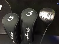SET OF 3 ROGUE WOODS 1,3,5. GOOD CONDITION. STEEL SHAFTS.