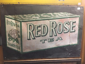 Early Red Rose Tea Sign - Rare