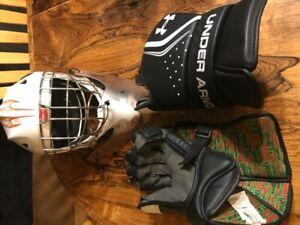 Lacrosse Goalie Gloves, Helmet and Sticks