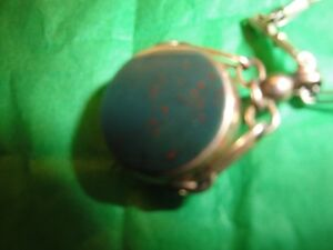 Bloodstone watch fob and chain