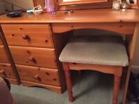 Pine 3-drawer Dressing Table, Stool and Triple Mirror