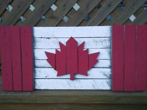 Rustic Wooden Canadian Flags