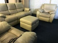 Cream electric power recliner three piece suite 3 seater sofa and 2 armchairs plus storage footstool