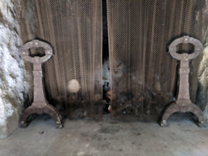 Antique fieplace andirons