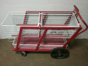 SMS6 Heavy duty mobile mail cart w/ 3 baskets. All welded frame
