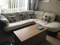 Dfs leather corner sofa with electric recliner chair