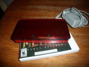 Flame Red Nintendo 3DS with charger and 2 games