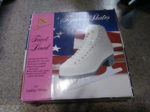 New ladies white  figure skates size 8