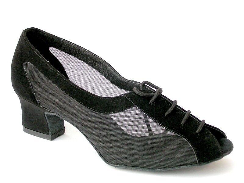 1644 Black Nubuck Swing Ballroom Salsa Latin Dance Shoes heel 2 Size 8 Very fine