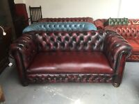 Fantastic vintage oxblood leather Chesterfield 3 seater sofa leather base del available