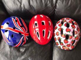 3 x child cycle helmets