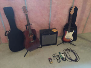 2 Guitars, Amp and Accessories