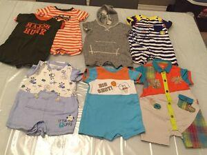 Lot of 7 Summer baby boy short sleeve onesies shirts