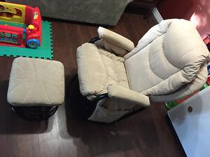 Rocking reclining swivel chair with rocking stool