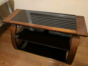 TV Console/Stand with glass shelves, like new!!