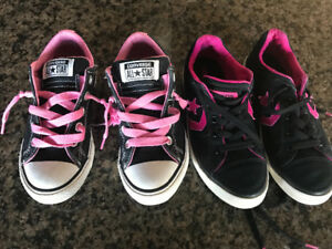 2 pairs of sneakers and 1 pair shoes size 1