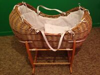 Wicker Moses basket and rocker