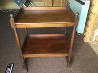 ANTIQUE HOSTESS TROLLEY HARDWOOD WITH 4 BRASS CAST WHEELS