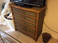 Wicker chest and 2xbedside tables - matching
