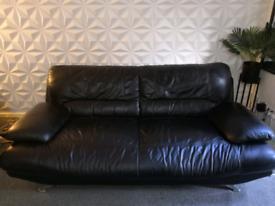Harveys Black Genuine Leather 3 seater large sofa
