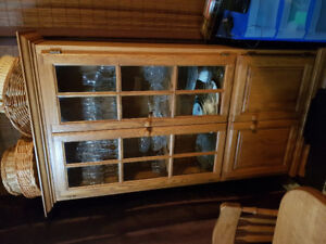 Oak table and 4 chairs and French Pantry cupboard