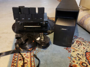 Denon multizone home theatre with 5 BOSE speakers and subwoofer