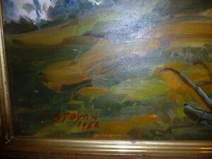 "Vintage Oil by Peter Stoyan (Stoyanoff) ""Sunset"", AOCA, 1952 Stratford Kitchener Area image 4"