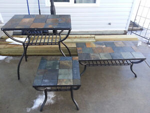 iron and tile coffee table set