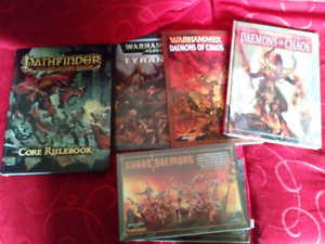Pathfinder core rule book with some old warhammer books,models