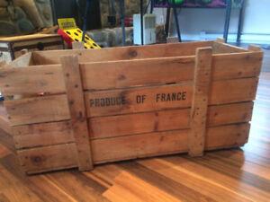 Grande caisse antique bois vintage retro France Montréal