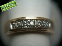Men's 14k Yellow Gold Ring Band with 7 Diamond 7 Grams Size 9.75