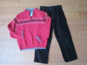 5T Christmas Gymboree sweater and black cords
