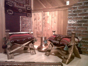 AUTHENTIC HAND-CARVED CAMEL STOOLS,