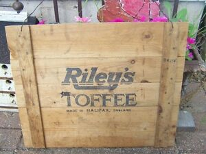 Great Large  Old Wooden Crate Advertising Sign Riley's TOFFEE