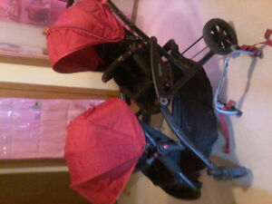 Red double stroller for sale