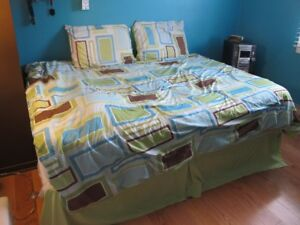 Comforter-dbl with 2 matching pillow cases, bedskirt & curtains