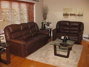 Genuine Leather Sofa and Love Seat
