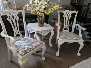 Pair of Chippendale Chairs & Accent Table