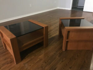 Mid Century Modern Teak End Tables with Smoked Glass Tops