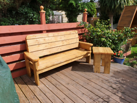 Handmade 6ft Garden bench and table set