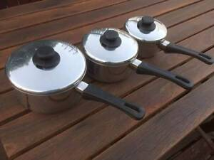 Pyrex Pronto 3 Set Stainless Steel Saucepans Beckenham Gosnells Area Preview