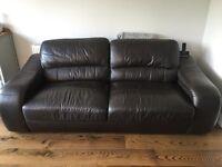 Dark brown 3 seater sofa settee